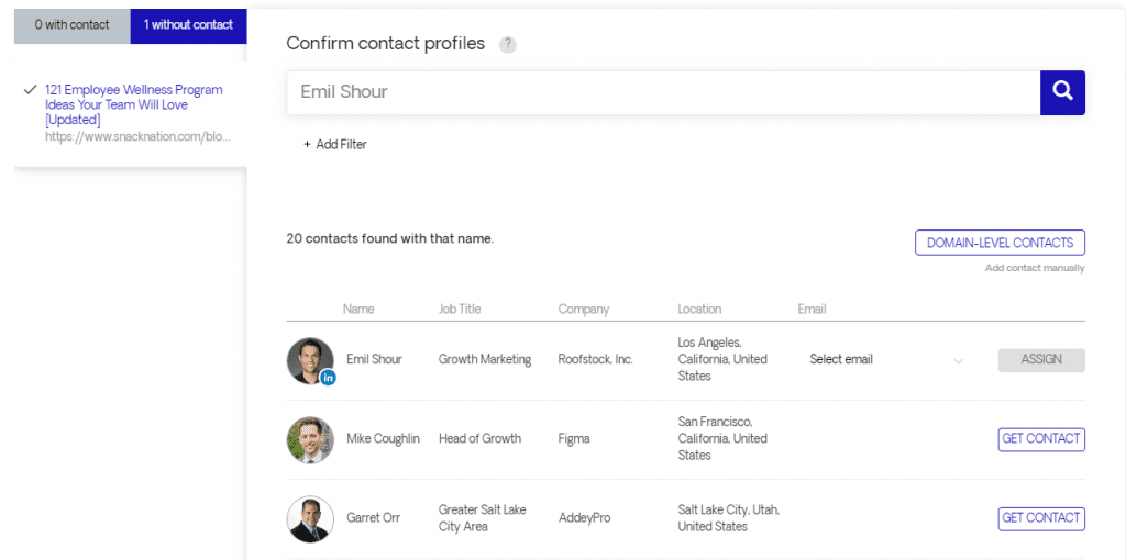 contact search