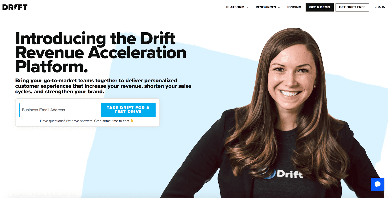 Drift SaaS homepage 2021.