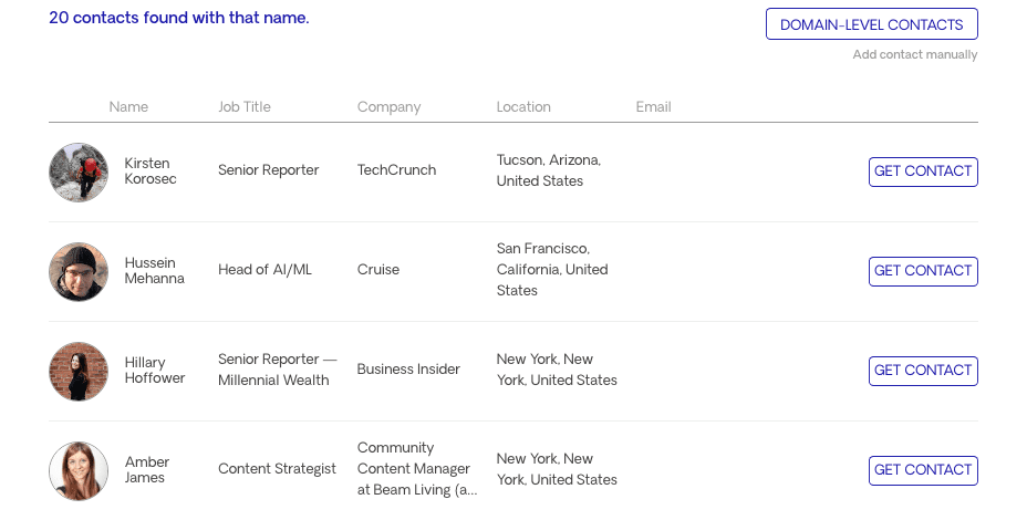 Contact Opportunities on Domain Level