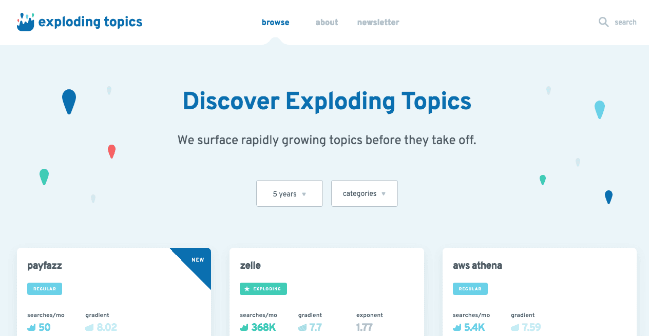 Exploding Topics Home Page