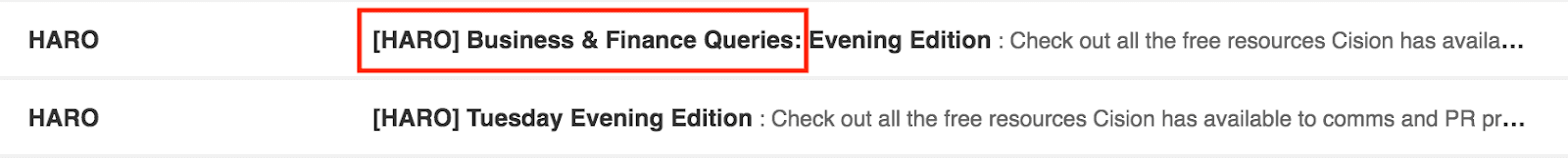 HARO Email Subject Lines