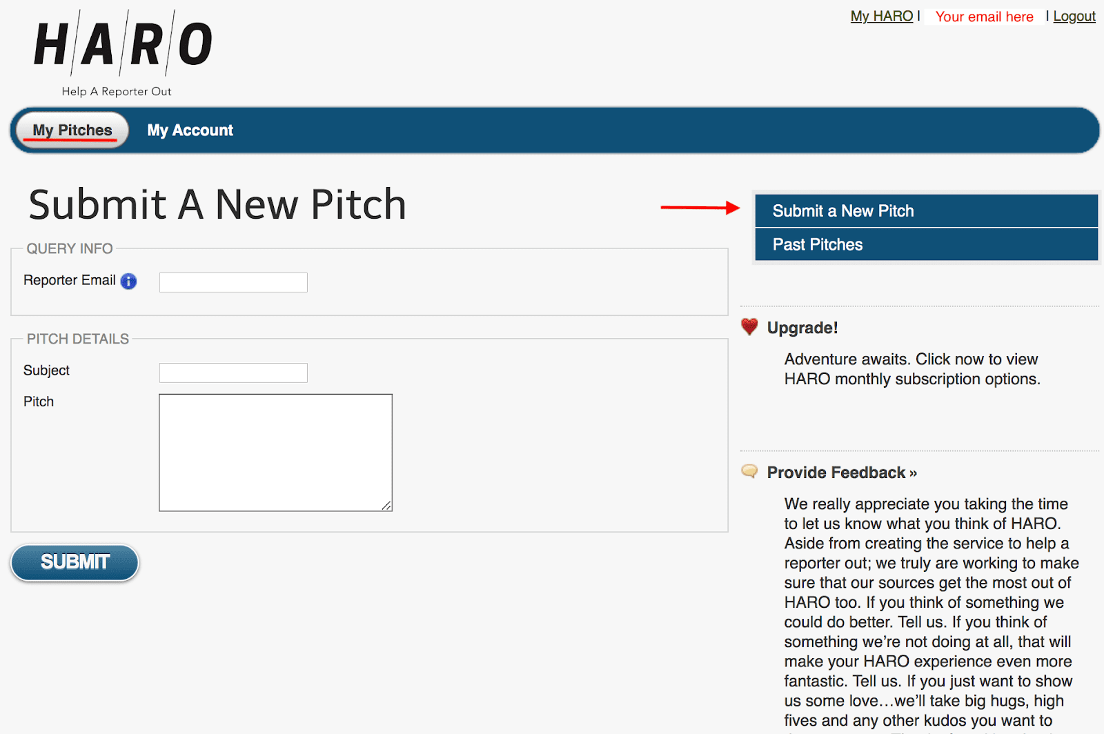 Submit A New Pitch